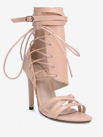 1b1e44229ab669 Cross Strap Hollowed High Heel Sandals - Apricot Eu 38 ...