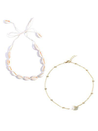 2Pcs Faux Pearl Shell Necklace Set