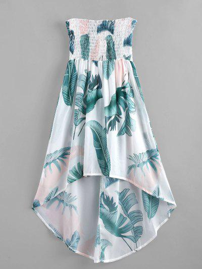 Palm Leaf Shirred Beach Dress - Multi-a L ...