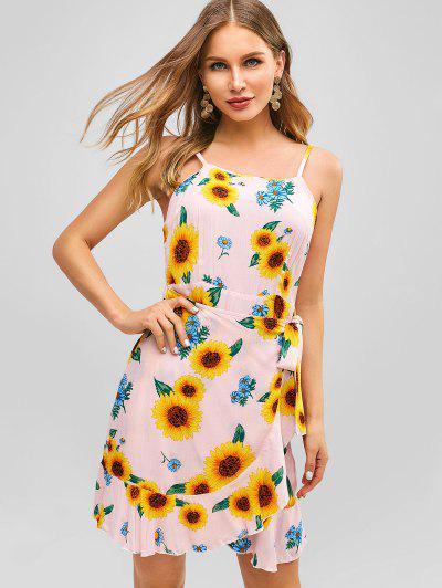 1dff865e8175 ZAFUL Ruffles Knotted Sunflower Dress - Pink S