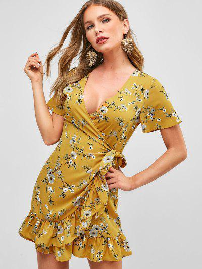 b7e40ce73ff ZAFUL Surplice Floral Short Flounce Dress - Bee Yellow L ...