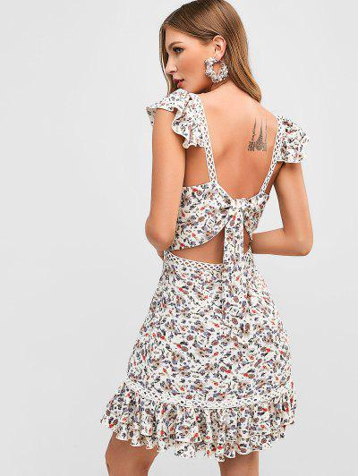 b571689123a44 ZAFUL Flower Tie Back Flounce Dress - White M ...