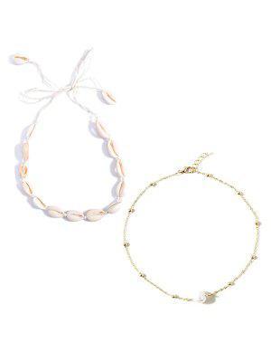 2Pcs Faux Pearl Shell Necklace Set - Multi  ₪16 RRP ₪32