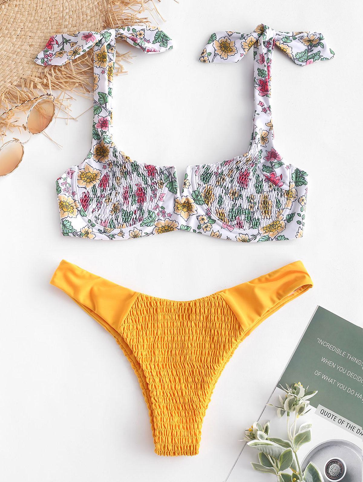 ZAFUL Floreale Affumicata Legata V via cavo, Bikini Set