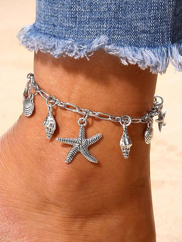 Starfish Shell Shape Charm Anklet