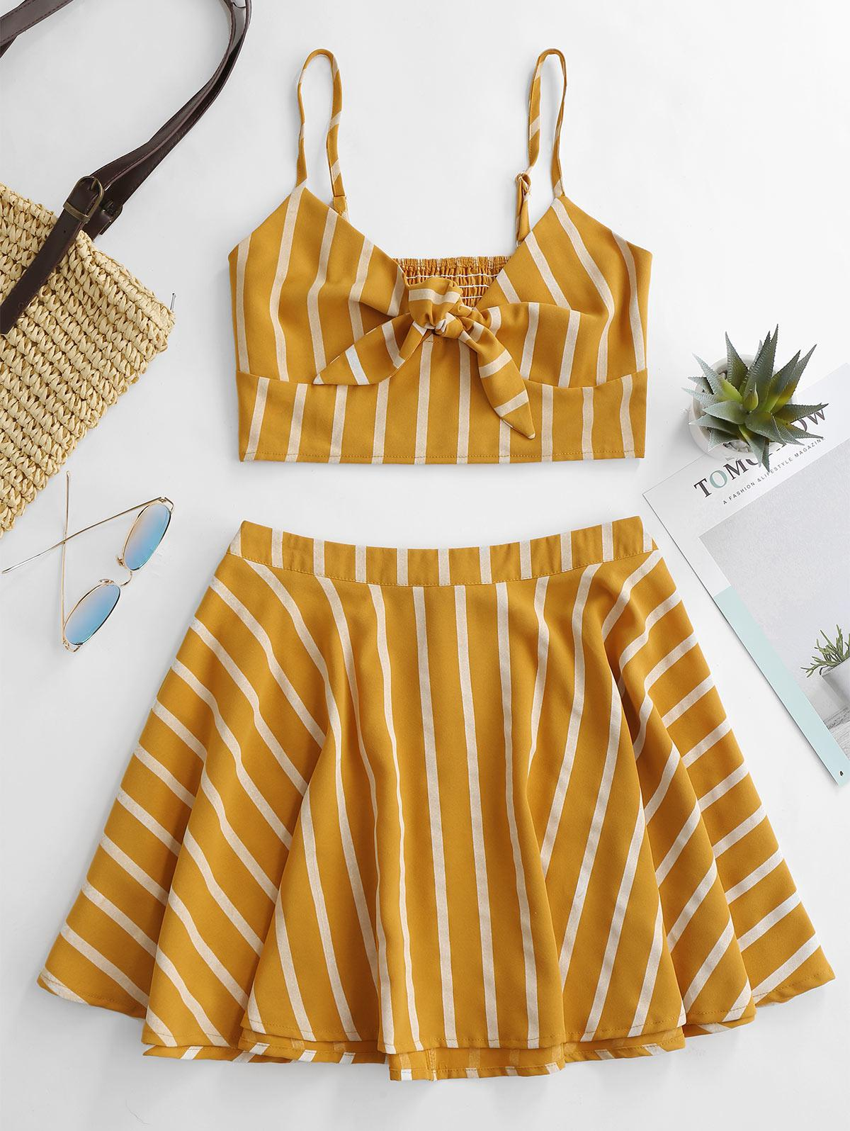 ZAFUL Smocked Tie Front Stripes Top And Skirt Set, Bee yellow