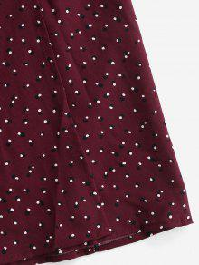 bc6cb3b6a 20% OFF] 2019 Buttoned Moon Dots Wrap Skirt In RED WINE | ZAFUL