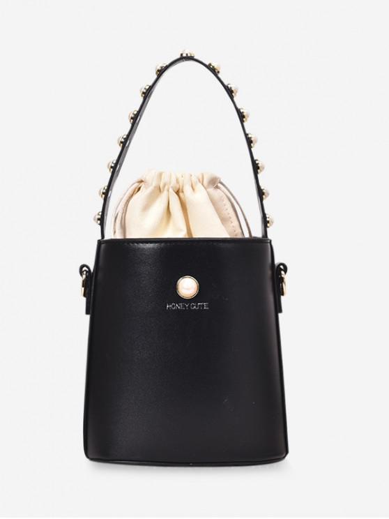 affordable Beading Design Drawstring Bucket Handbag - BLACK