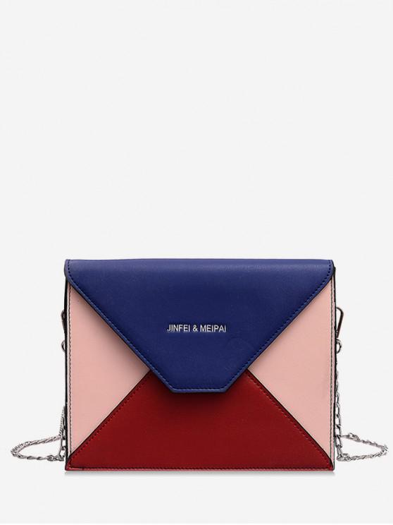 womens Color Block Chain Messenger Bag - BLUE