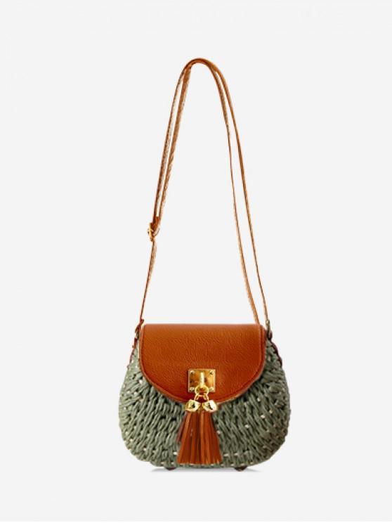 women Fringe Decor Straw Crossbody Bag - HAZEL GREEN