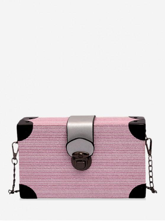 new Glitter Metal Buckle Box Crossbody Bag - PINK