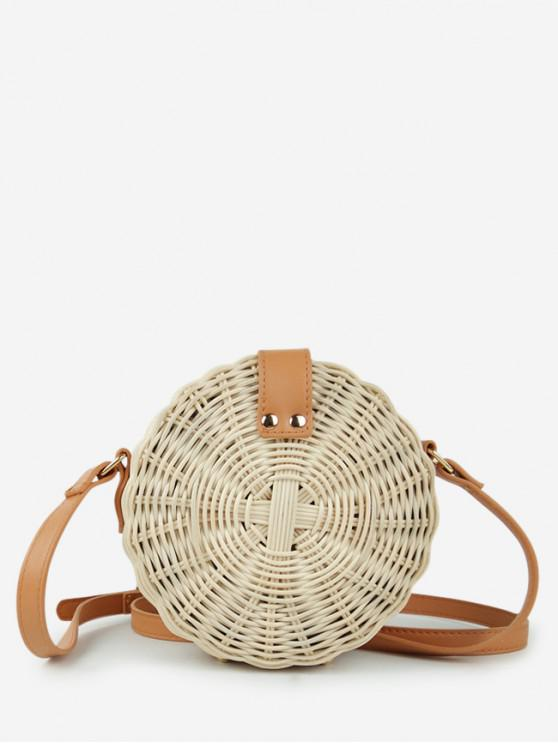 trendy Round Woven Straw Crossbody Bag - BEIGE