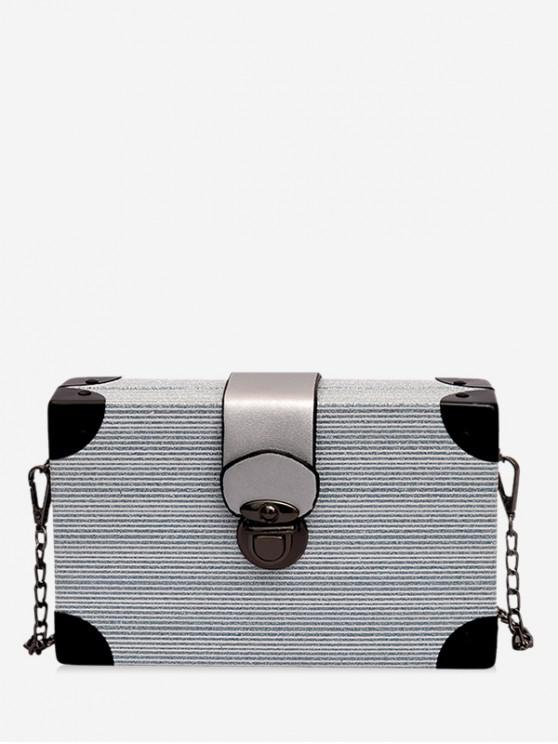 fancy Glitter Metal Buckle Box Crossbody Bag - BLUE GRAY