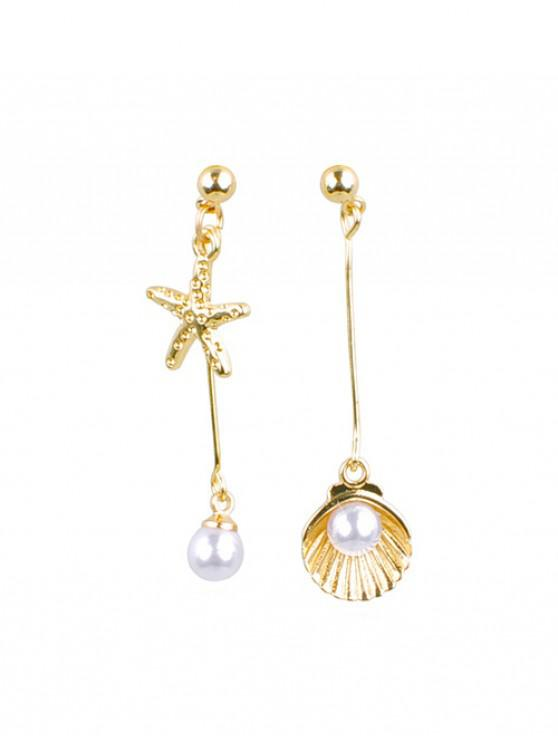 affordable Seafish Shell Faux Pearl Earrings - GOLD