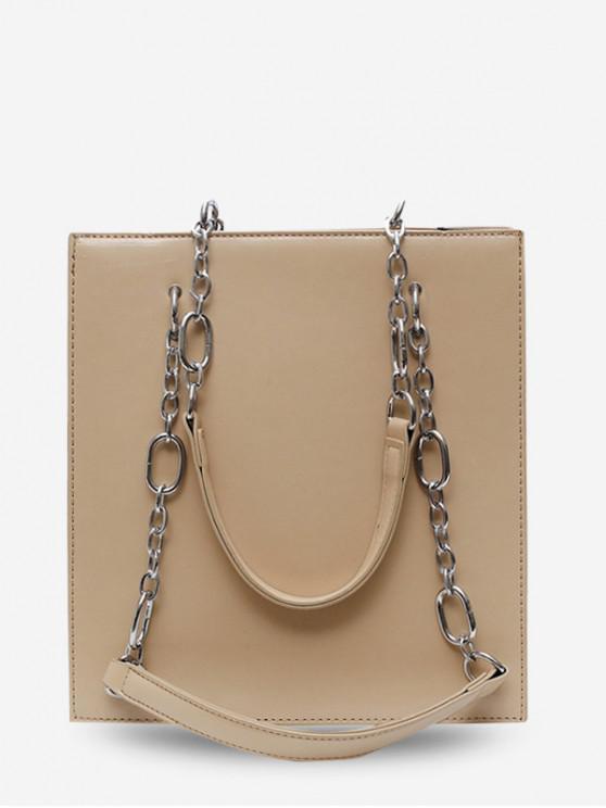 buy Faux Leather Chain Shoulder Bag - KHAKI