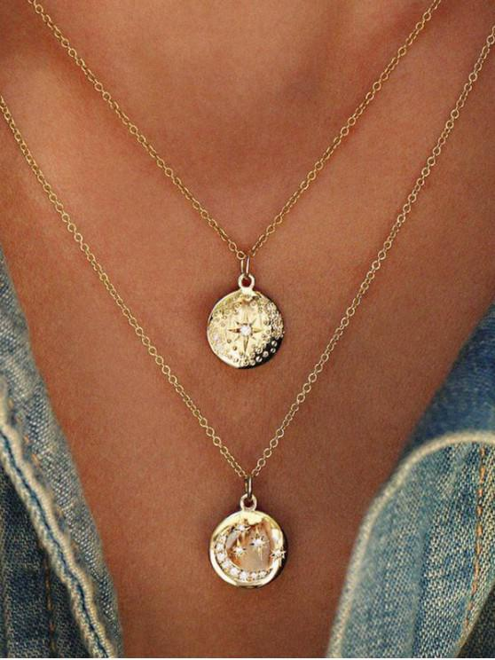 chic Moon Star Double Layered Necklace - GOLD