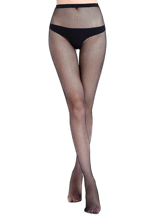 women Hollow Mesh Fishing Net Long Pantyhose - BLACK S