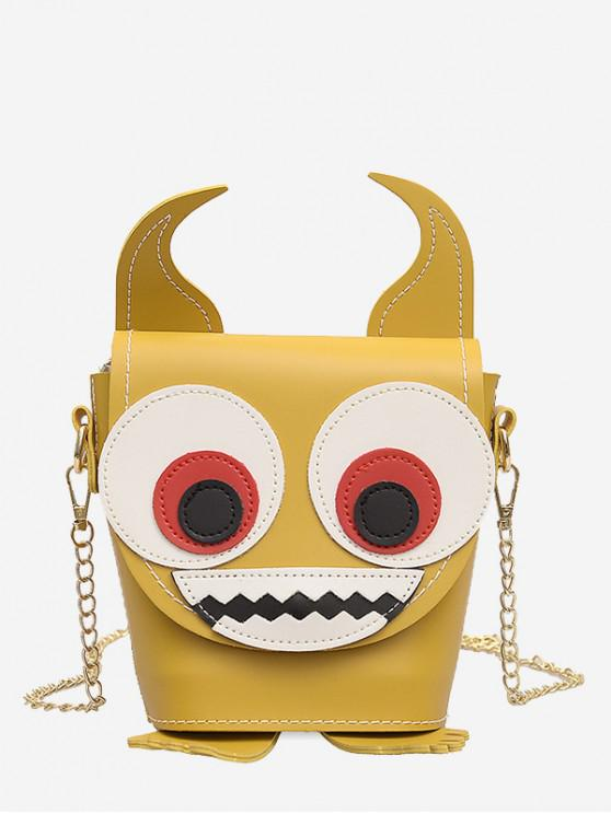 sale Demon Face Pattern Jointed Shoulder Bag - YELLOW