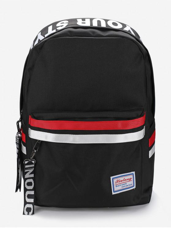 womens Letter Graphic Sporty Zip Casual Backpack - BLACK