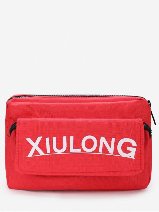 hot Letter Graphic Zip Sporty Crossbody Bag - RED