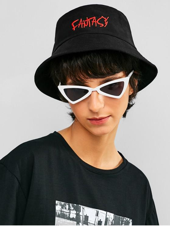 fancy Embroidery Hollow Out Bucket Hat - BLACK