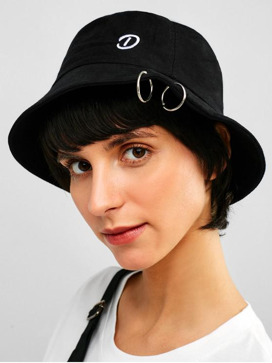 womens Embroidery Grommet Casual Bucket Hat - BLACK