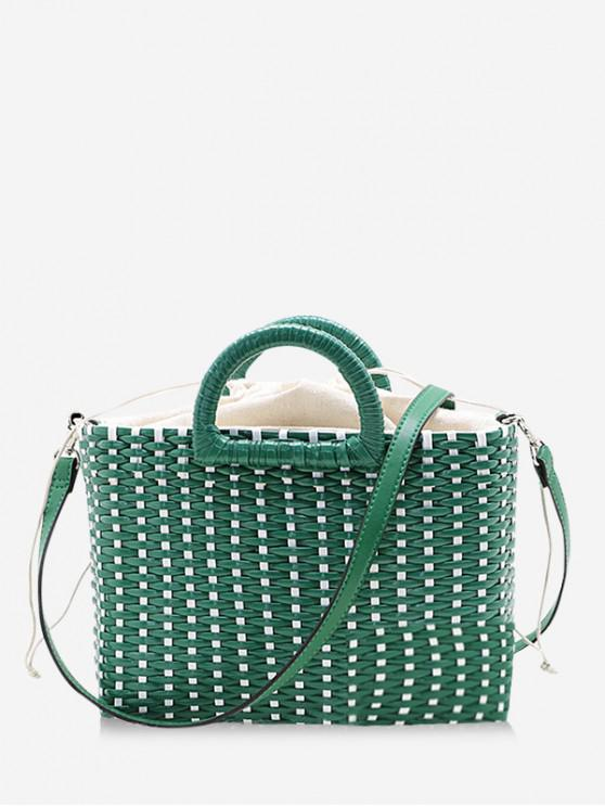 women Straw Weaving Handbag - PINE GREEN
