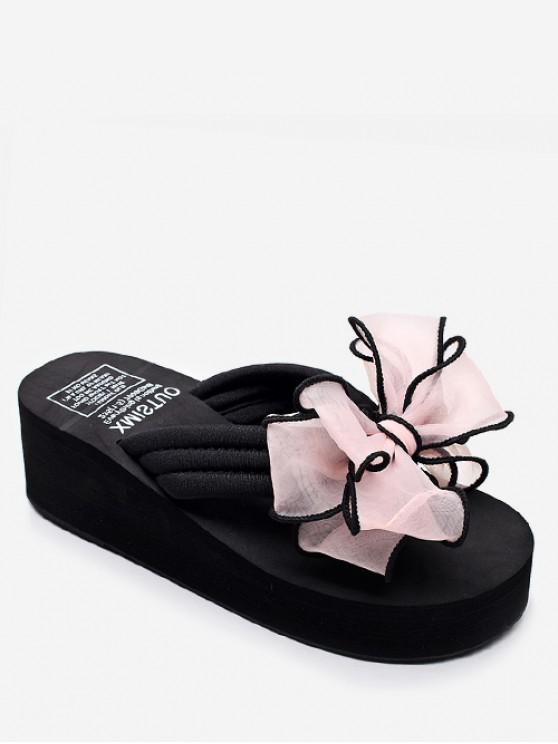 women's Ribbon Bow Wedge Heel Thong Slides - PINK EU 36