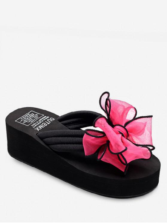 outfits Ribbon Bow Wedge Heel Thong Slides - ROSE RED EU 40