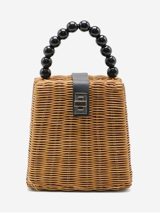 buy Beaded Handle Box Straw Handbag - LIGHT BROWN