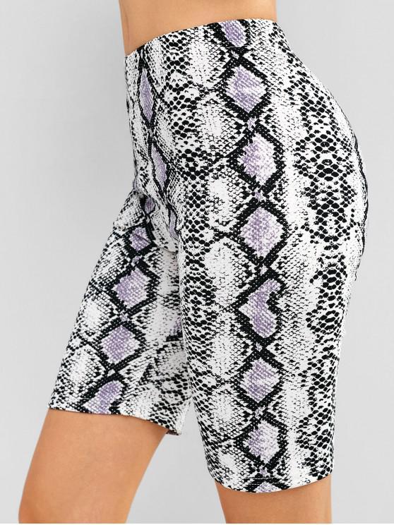 women Snake Print Biker Gym Yoga Shorts - MULTI S