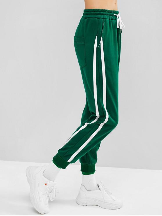 hot Drawstring Pocket Jogger Sweat Pants - SEAWEED GREEN M