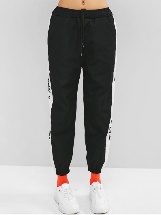 affordable Drawstring Graphic Gym Jogger Pants - BLACK M