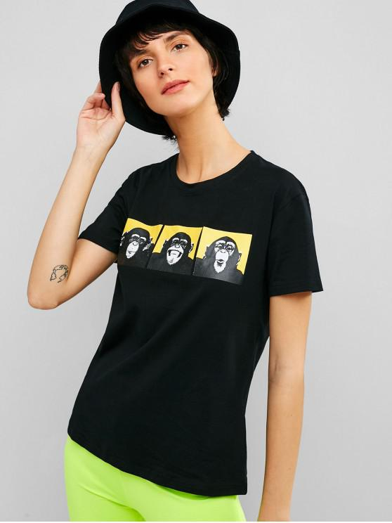 women Animal Graphic Short Sleeves Tee - BLACK 2XL