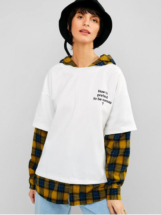 best Double Sleeve Plaid Tunic Pullover Hoodie - WHITE S