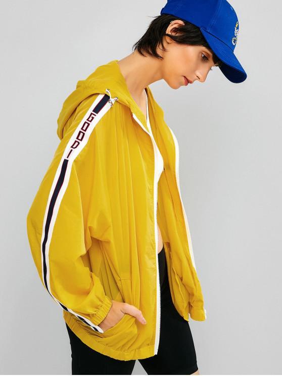 latest Sun Protective Zip Contrast Hooded Jacket - MUSTARD XL