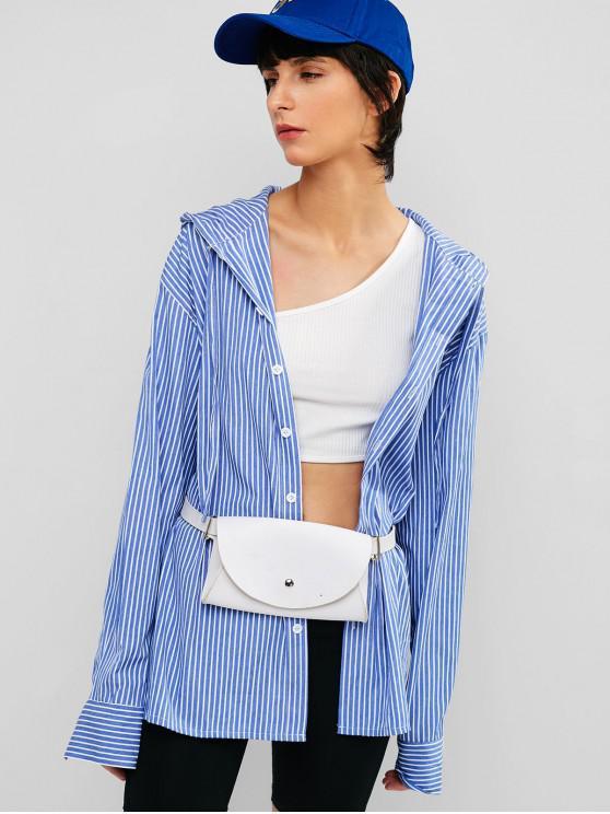 womens Striped Button Up Hooded Tunic Shirt - OCEAN BLUE 2XL