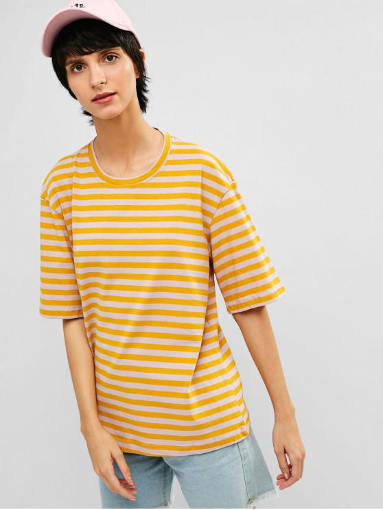 hot Drop Shoulder Striped Casual Tee - RUBBER DUCKY YELLOW L