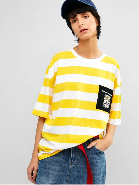 latest Striped Chest Pocket Embroidered Tunic Tee - YELLOW XL
