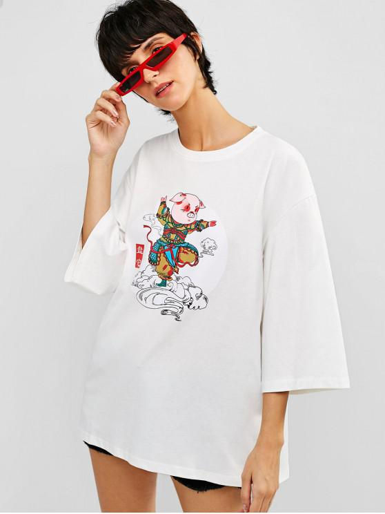 sale Cotton Pig Graphic Loose Fit Tee - WHITE L