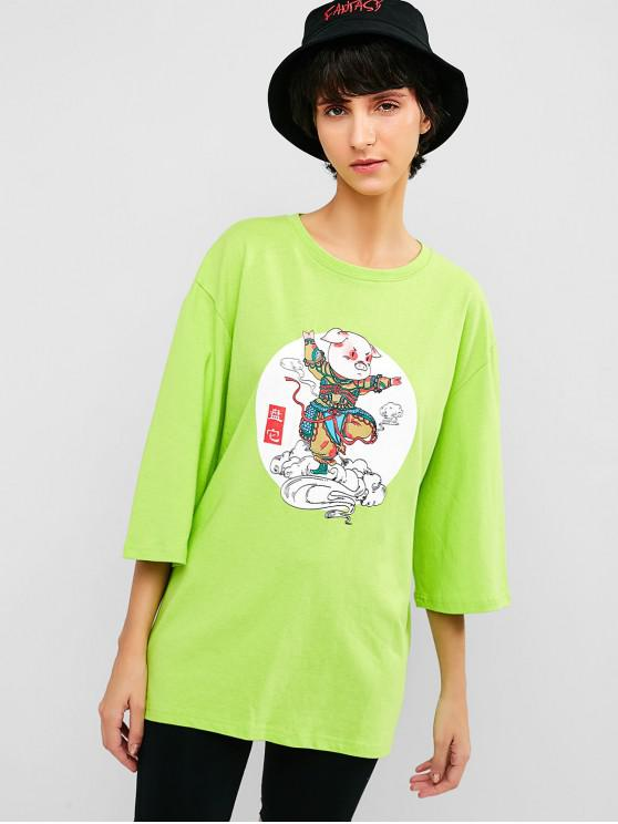 women Cotton Pig Graphic Loose Fit Tee - LAWN GREEN M
