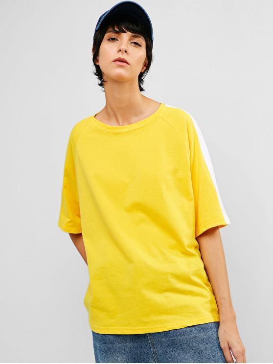 online Raglan Sleeve Casual Contrast Tee - YELLOW M