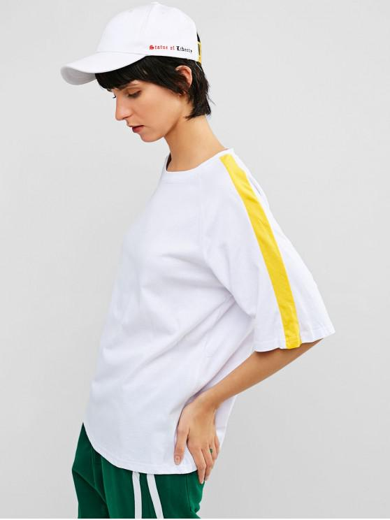 shop Raglan Sleeve Casual Contrast Tee - WHITE M