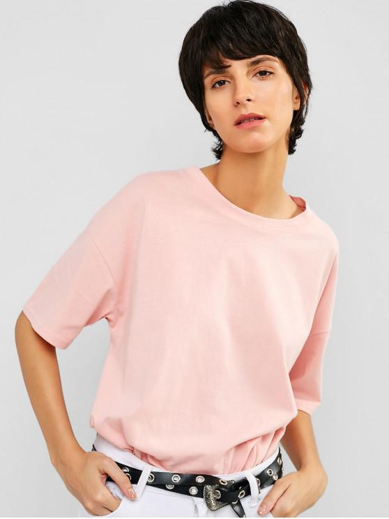fashion Casual Drop Shoulder Tunic Tee - PIG PINK S