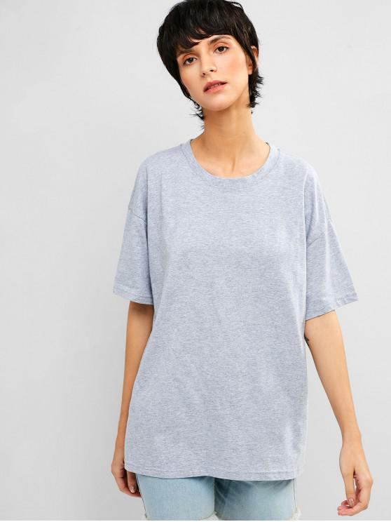 women Casual Drop Shoulder Tunic Tee - GRAY CLOUD XL