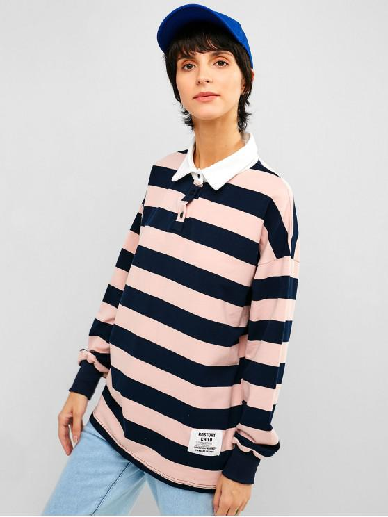 best Drop Shoulder Loose Striped Tunic Tee - LIGHT PINK L