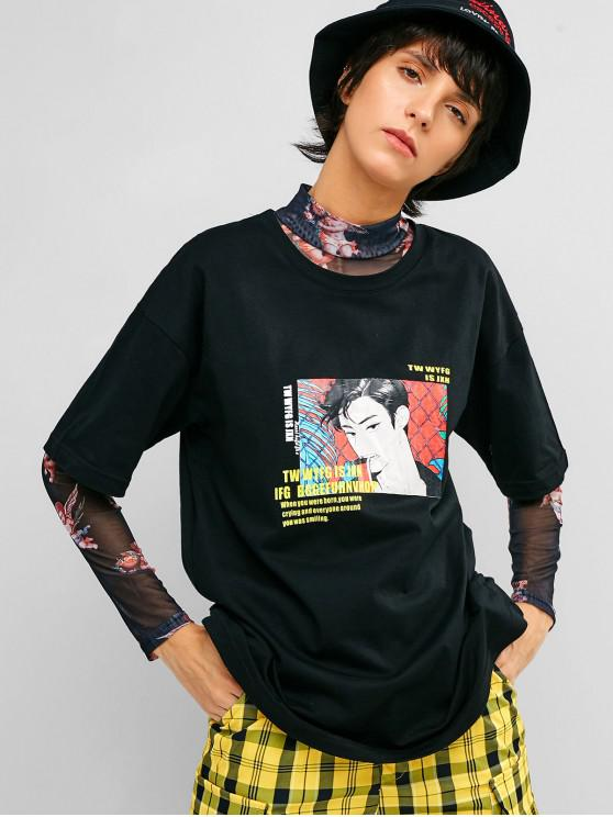 women Drop Shoulder Graphic Casual Tee - BLACK XL