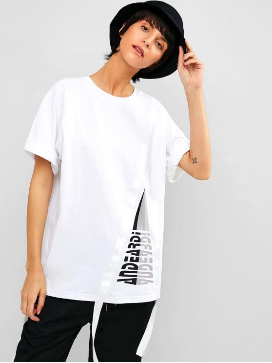 outfit Raglan Sleeve Graphic Cotton Tunic Tee - WHITE M