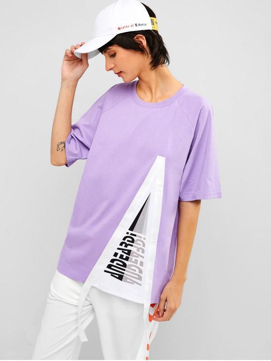 trendy Raglan Sleeve Graphic Cotton Tunic Tee - PURPLE MIMOSA L