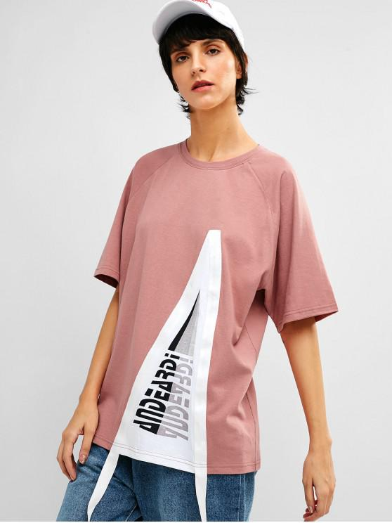fancy Raglan Sleeve Graphic Cotton Tunic Tee - PALE VIOLET RED M